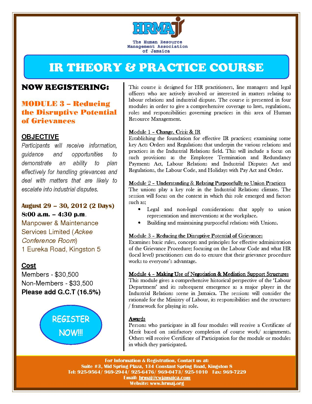 IR Theory Practice Course Flyer (Module 3)