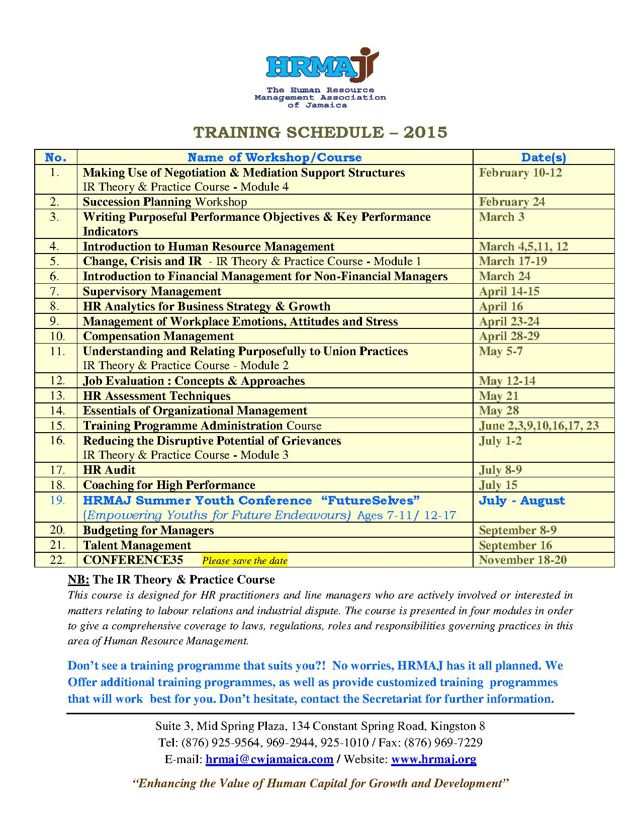 Training Schedule 2015