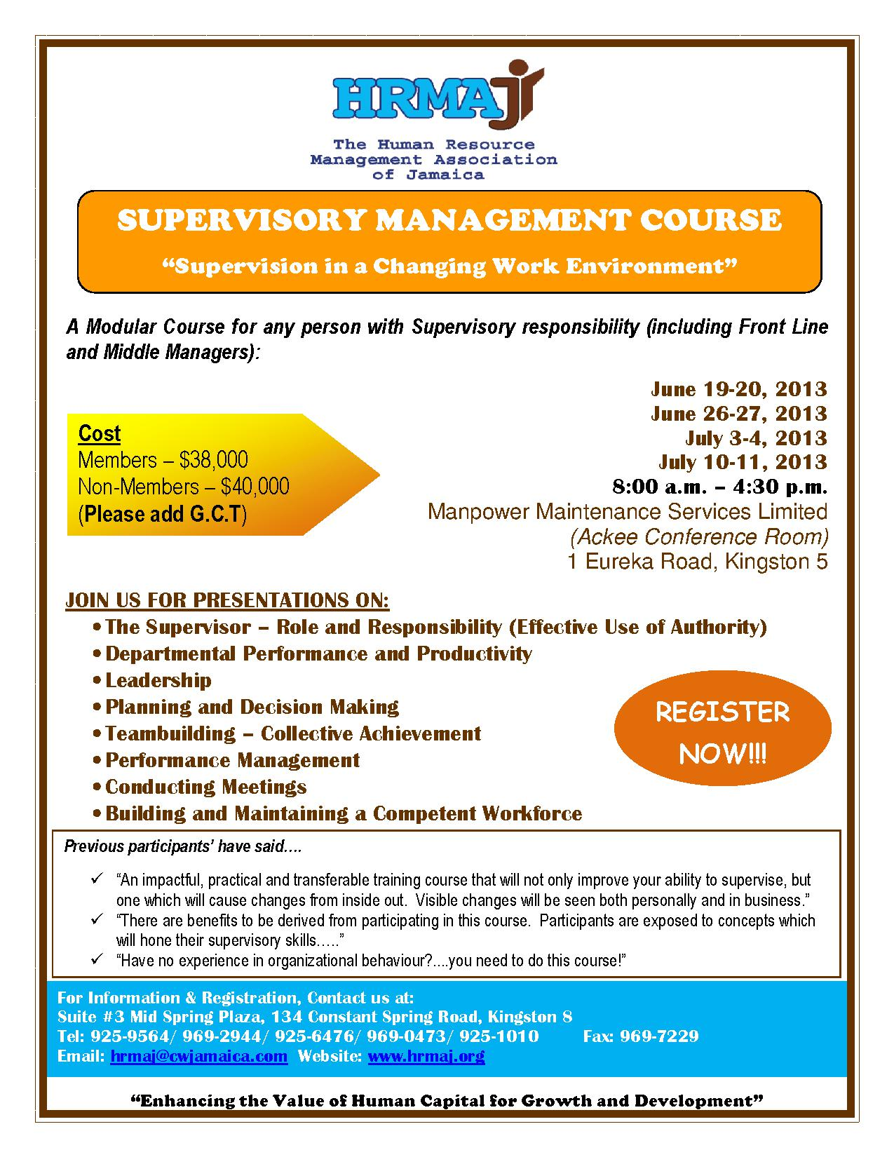 Supvisory Management Course